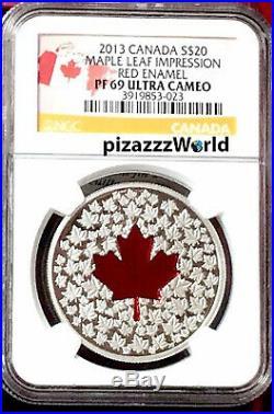 2013 CANADA $20 1oz PF69 Silver COIN'Maple Leaf Impression' COLOR Enamel Proof
