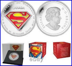 2013 Canada $20 75th Anniversary Superman 1oz. 9999 Silver Coin The Shield Comic