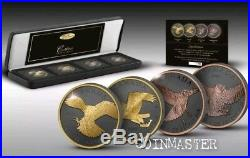 2014,2015 4 Oz Silver $5 GOLDEN ENIGMA BIRDS OF PREY Set Coins