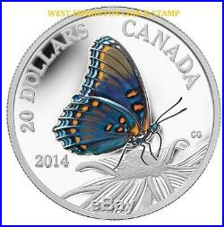 2014 $20 Fine Silver Coin Butterflies Of Canada Red-spotted Purple