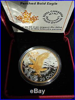 2014 Canada 1 oz Fine Silver $20 Coin Gold Accents Perched Bald Eagle
