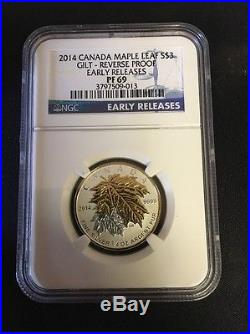 2014 Canada 5 Coin Silver Gilt Maple Leaf Proof Coin Set NGC-PF69 Early Releases