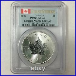 2014 Canada Canadian $5 Silver Maple Leaf PCGS MS 69 First Strike 1 Oz Pure 9999