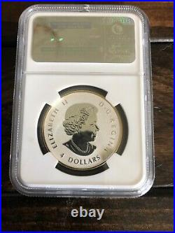 2014 Canada Maple Leaf $4 Reverse Proof Coin-gold Gilt-beautiful Coin Pf70