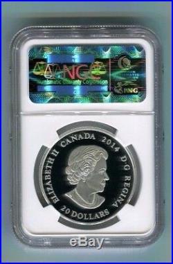 2014 Canada Maple Leaf Impression Green Enamel $20 1 oz Silver NGC PF70 ER Proof