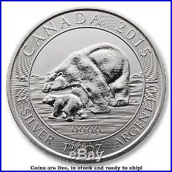 2015 1.5 Troy oz Canada Silver Polar Bear Roll of 15 Coins (22.5 oz)