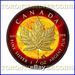 2015 Canada 1 oz Silver $5 Solar Flare Maple Leaf Coin With 24k Black Ruthenium