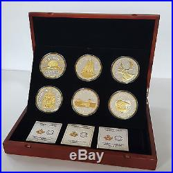 2015 Canada Big Coin Series 6x 5 oz Gold-Plated Silver Coins & Wooden Box