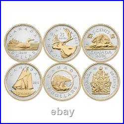 2015 Canada Big coin series set of 6 pure silver coins with gold plating