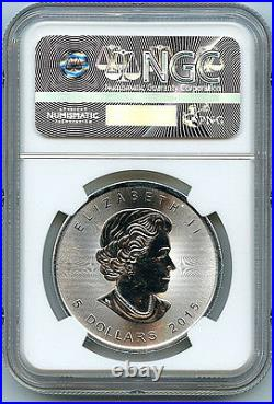 2015 Canadian Maple Leaf $5 Silver Dollar MS69 NGC. 9999 Graded Coin B3