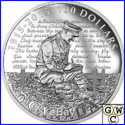 2015 In Flanders Fields-100th Anniv. Proof 10oz $100 Silver Coin. 9999 (17448)NT
