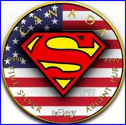 2016 1 Oz Silver US FLAG Superman Coin WITH 24K GOLD GILDED