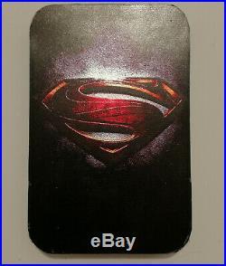 2016 24K Gilded Silver Superman Shield Edition $5 1Oz Coin Packaged & COA BUNC
