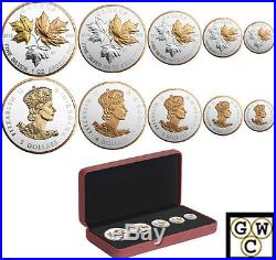 2016 A Historic Reign-Fractional Set of 5 Silver Maple Leaf coin. 9999(NT)(17456)