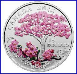 2016 CANADA $15 CHERRY BLOSSOM Celebration of Spring 3/4oz Silver Coin