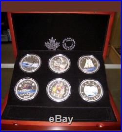 2016 Canada Big Coins Series 5 Oz Color. 9999 Silver Proof 6 Coin Set-Wood Case
