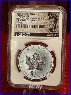 2016 Canada Male Leaf Proof Bigfoot Privy NGC 69 Rare 1oz. 9999