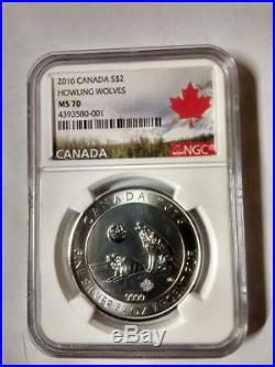 2016 Canada S$2 Howling Wolves 2/3oz, 9999 Pure Silver Coin NGC MS70
