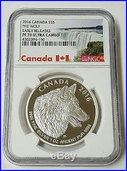 2016 Canada S$5. The Wolf Early Releases PF70 Ultra Cameo. 1 Oz Silver Coin