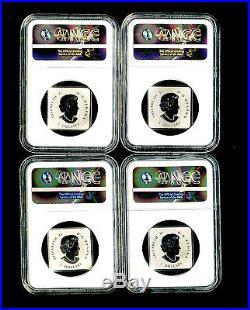 2016 Canada Silver Ngc Pf70 Maple Leaf Quartet Reverse Proof 4-coin Set Fr Rare