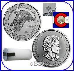 2016 Canada Snow (White) Falcon 1.5 oz Silver Coin - Roll/Tube 15 coins