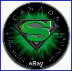2016 SUPERMAN KRYPTONITE Colorized Ruthenium 1oz. 9999 Silver Coin Box & COA