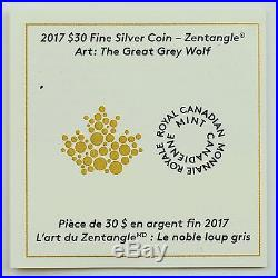 2017 $30 Zentangle Art The Great Grey Wolf, 2 oz 99.99% Pure Silver Proof Coin