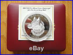 2017 Canada $30 Zentangle Art The Great Grey Wolf 2 oz. Pure Silver Coin