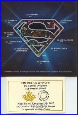2017 Canada Superman Shield $100 Coin 9999 Silver 10 oz NGC PF70 UCam OGP MB281