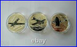2017 Canada WW II Aircraft 3 x $20 Dollars Silver coin Proof Color Metal box