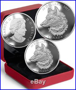 2017 Canada Zentangle Art, Great Grey Wolf $30 2OZ Pure Silver Coin. Mintage4000