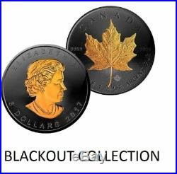 2017 Canadian Maple Leaf BLACKOUT 1 oz. 999 silver coin Ruthenium & 24K Gold HOT