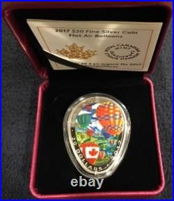 2017'Hot Air Balloons' Shaped Colorized Proof $20 Silver Canada Coin