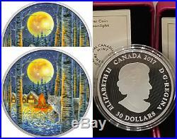 2017 Moonlight Glow-in-Dark 2OZ Pure Silver $30 Canada Lynx Coin, Mintage 4000