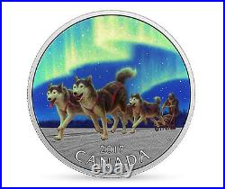 2017 Under Northern Lights $10 1/2OZ Pure Silver Proof Coin Canada Dog Sledding
