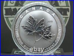 2018 10oz. $50 Canada MAGNIFICENT Maple Leaf SILVER. 9999 #CF ECC&C, Inc