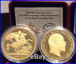 2018 110th Royal Canadian Mint $20 1OZ Silver Proof Coin Canada, 1908 Sovereign