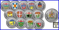 2018'14-Coin Set of the Heraldic Emblems of Canada' Prf Fine Silver Coins18547