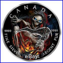2018 1 Ounce Apocalypse Grim Reaper III Colored Ruthenium Silver Coin No Reserve