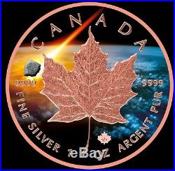 2018 1 Oz Silver $1 ABEE METEORITE MAPLE LEAF Coin, 24kt Rose Gold Gilded