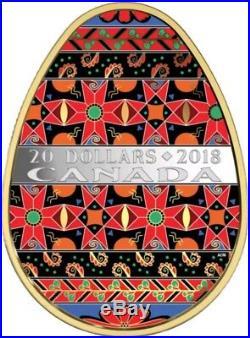 2018 1 Oz Silver $20 UKRAINIAN PYSANKA Easter Spring Egg Folk Coin