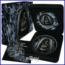 2018 1 oz Grim Reaper Smoke Maple Leaf Colored Ruthenium Silver Coin
