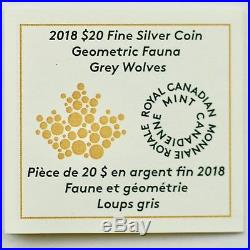 2018 $20 Geometric Fauna Grey Wolf, 1 oz. 9999 Pure Silver Colored Proof Coin