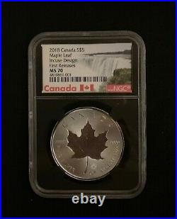2018 $5 Canada 1 oz Silver Double Incuse Maple Leaf MS70 NGC 30th Anniversary