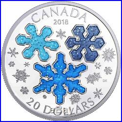 2018 Canada Ice Crystals 1 oz Silver Enameled Proof $20 Coin in OGP SKU49838