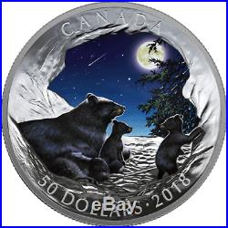 2018 Moonlight Tranquility Nature's Light Show $50 5OZ Silver Glow Coin Canada
