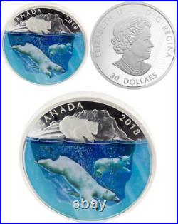 2018 Polar Bears Dimensional Nature $30 2oz Pure Silver Proof Canada Coin