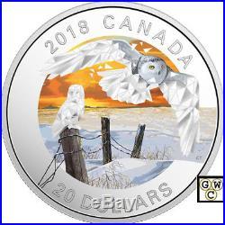 2018'Snowy Owls-Geometric Fauna' Color Prf $20 Silver Coin 1oz. 9999Fine(18443)