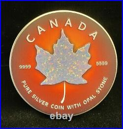 2019 Canada $5 Maple Leaf Red Opal 1 oz. 9999 Silver Coin with Real Stone