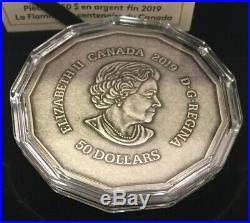 2019 Centennial Flame Large 3 oz Pure. 9999 Silver Coin Canada. Box and COA